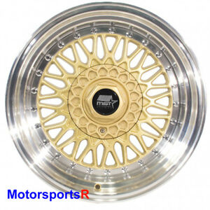 Mst Wheels Mt13 Rims 16 X 8 20 Gold Deep Lip 5x114 3 Stance 06 Acura Rsx Type S