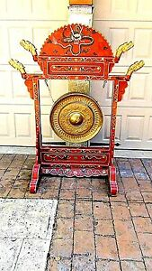 Antique 19c Chinese Large Ceremonial Red Lacquered Gesso Gilt Dragon Drum Gong