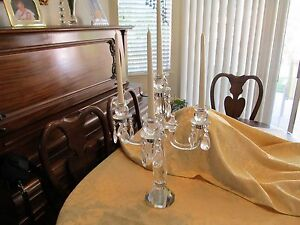 Vintage Crystal Candelabra Has 4 Arms And Dangling Crystals