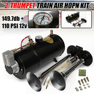 Dual 2 Trumpet Air Horn 110psi 12v Compressor Kit Pressure Gauge Car Train Truck