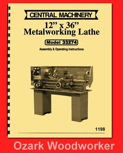 Central Machinery Asian 12 x 36 Metal Lathe 33274 Operator Parts Manual 1198