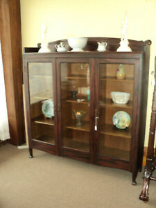 Antique Three Door Bookcase Oak With Faux Rosewood Finish