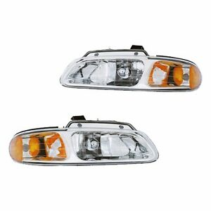Fits 96 99 Town country Caravan Driver Passenger Headlight Lamp Assembly 1 Pair