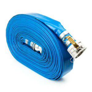 Blue 2 X 50 Camlock Lightweight Lay Flat Pvc Discharge Hose With Cam And Groov