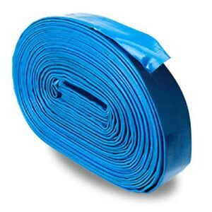 Blue 1 5 X 100 Uncoupled Lightweight Pvc Lay Flat Pool Discharge Hose And Back