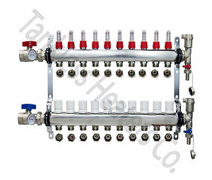 10 branch Pex Radiant Floor Heating Manifold Stainless W 1 2 Connectors