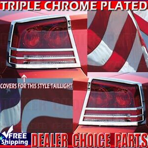 For 2006 2008 Dodge Charger Triple Chrome Tail Light Bezel Covers Trims