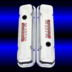Valve Covers Factory Height For Pontiac 455 Engines Chrome With 455 Emblem Red