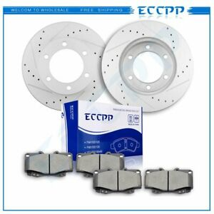 For 1999 04 Toyota Tacoma Front Drilled Slotted Brake Discs Rotors Ceramic Pads