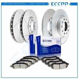 For 2013 16 Dodge Dart Front Rear Drilled Slotted Brake Rotors And Ceramic Pads