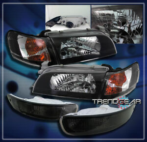 1993 1997 Toyota Corolla Crystal Head Lights corner bumper Black 1994 1995 1996