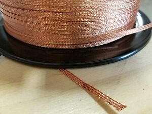 10 Ft Flat Braided Braid Pure Copper Wire 1 8 Wide Ground Strap Usa