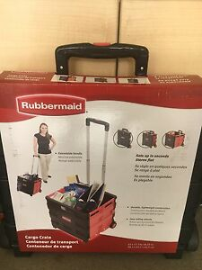 Rubbermaid Collapsible Cargo Crate Cart Folding Rolling File Utility Cart Office