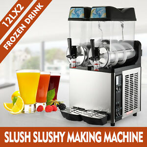 2tank Commercial Frozen Drink Slush Slushy Make Machine Smoothie Maker Fast Ship