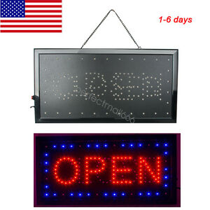 Us Ultra Bright Led Neon Light Animated Motion With Open Close Business Sign Usa