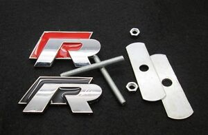 R Grill Badge Emblem Decal Logo Grille Golf For Polo Scirocco R20 Vw R Red Black