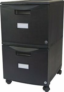 Storex 2 drawer Mobile File Cabinet With Lock Legal letter 18 25 X 14 75