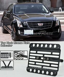 For 13 19 Cadillac Ats Front Tow Hook License Plate Mount Bracket Holder No Pdc