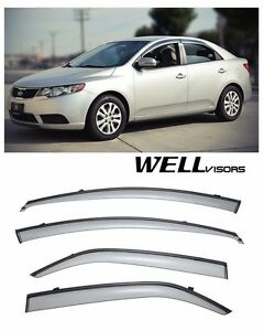 For 10 13 Kia Forte Sedan Wellvisors Side Window Visors W Black Trim