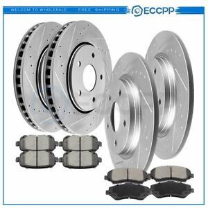 For Town Country Journey Routan Front Rear Drilledeslotted Brake Rotors And Pads