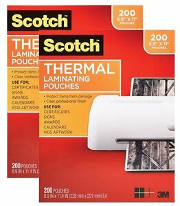 Scotch Thermal Laminating Pouches Sheets Letter 200 Pack X 2 400ct