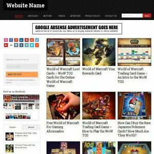 Trading Cards Store Professionally Designed Affiliate Website For Sale domain