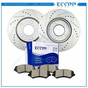 Front Brake Discs Rotors Ceramic Pads For Dodge Caravan 2001 2007 Drilled