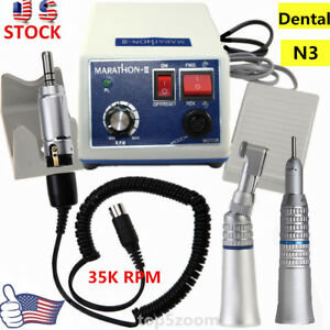 Dental Lab Marathon 35k Rpm Micro Motor N3 Straight Handpiece contra Angle Top