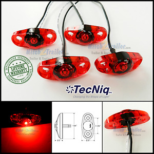 4 Tecniq Red Led Light Clearance Marker Trailer Truck Surface Mount 2 Wire