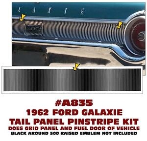 A835 1962 Ford Galaxie Tail Panel Pinstripe Decal Insert Kit