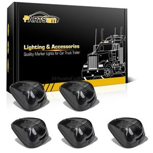 5 Smoke Roof Running Clearance Cab Markers Lights W White 9led Assembly For Ford