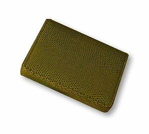 Budd Leather Company Lizard Printed Leather Business Card Case Lime Green 55
