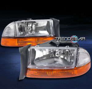1997 2004 Dodge Dakota 1998 2003 Durango Head Light Chrome W amber Bumper corner