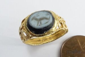 Ancient Roman 22k Gold Intaglio Nicolo Glass Seal Ring 4th 5th Century Ad