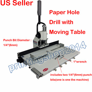 1 4 6mm Hole Paper Hole Drill Punch Machine 300 Sheets Two Cut Die Moulds