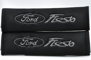 Gray On Black Seat Belt Cover Shoulder Pad Pairs W Embroidery For Ford Fiesta