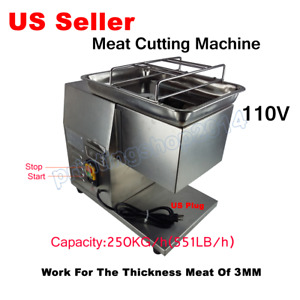 110v Stainless Commercial Meat Slicer Cutting Machine Cutter 250kg h 3mm
