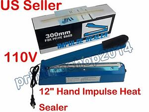 Hand Impulse Sealer Heat Sealing Machine Poly Plastic Bag Film12 300mm 110v