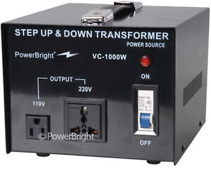 Powerbright 1000 Watt Voltage Transformer converter 110 220 Volt Step Up Down