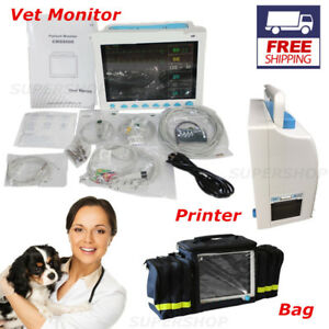 Veterinary Vital Signs Patient Monitor Ecg nibp spo2 resp temp pr Printer bag