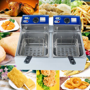 11l 5000w Electric 5 5l 2 Dual Tanks Deep Fryer Commercial Tabletop Fryer Us