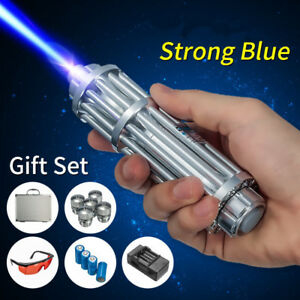 450nm Blue Beam Laser Pointer Lazer Pen 5 Head case battery charger goggles 5mw