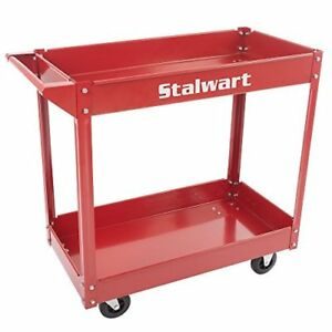 Metal Service Utility Cart Heavy Duty Supply Cart With Two Storage Tray