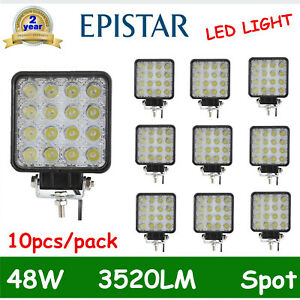 10x 48w Led Work Light Flood Truck Driving Fog Lamp Square 4wd Jeep 4 3inch Boat