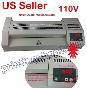 A3 12 6 professional Pouch Laminator Hot Cold Machine 110v