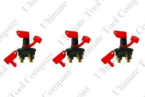 3 Sets Of 12 Volt Battery Kill Switch With Two Removable Keys 300 Amps Terminal