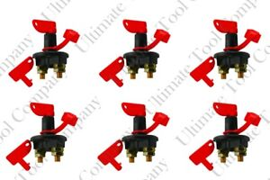 6 Pc New 12v Racing Power Cut Off Switch Breaker Isolater Two Keys Included