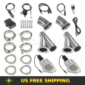2set 3inch Electric Exhaust Cutout Pipe Remote manual Switch Valve Y Headers Kit