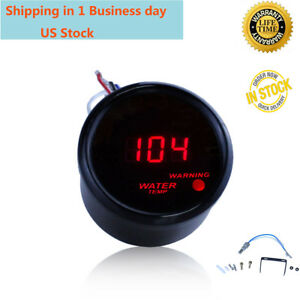 2 52mm Red Digital Led Fahrenheit Water Temp Temperature Gauge Black
