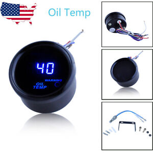 2 Digital Oil Temperature Gauge With Sensor Blue Led Black Trim